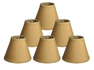 Royal Designs Antique Gold Silk 6 inch Hardback Empire Chandelier lamp Shades  Set of 6  as is
