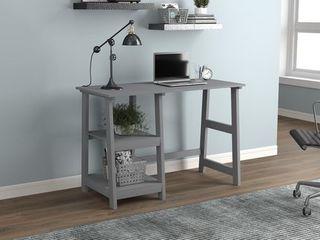 Computer Desk 44l light Grey 2 Open Concept Shelves  Retail 164 99