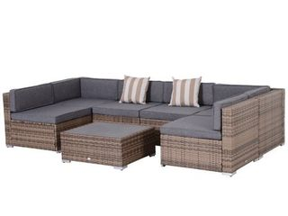 Outsunny 7 piece Outdoor Patio Rattan Wicker Furniture Set   Retail 1009 99 3 boxes