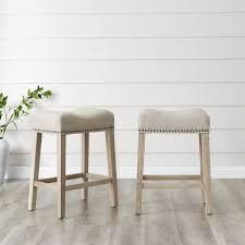 The Gray Barn Barish Backless Saddle Seat Counter Stools  Set of 2  Retail 99 99 tan