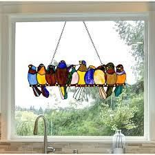 River of Goods Stained Glass Birds on a Wire 9 25 inch Window Panel   24 25 l x 0 25 W x 9 5 H   Retail 84 49