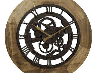 FirsTime   Co  Wood Gear Wall Clock  American Crafted  Aged Brown  Wood  19 x 2 x 19 in   19 x 2 x 19 in
