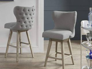 Madison Park Irvine High Wingback Button Tufted Upholstered 27 Inch Swivel Counter Bar Stool with Nailhead Accent 2 Color Option  Retail 217 49 1 only