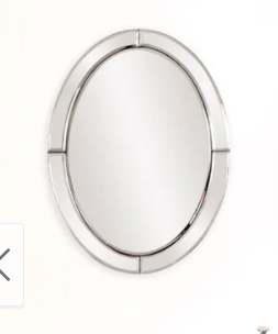 Allan Andrews Silver Oval Mirrored Frame Wall Mirror