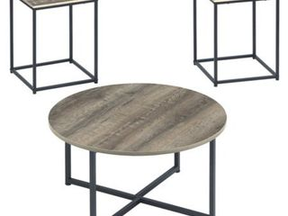 Set of 3 Wadeworth Occasional Table Set Brown Black   Signature Design by Ashley