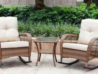 Brown Wicker Rocking Chair and Glass Top Brown Wicker Table set with Beige Cushions  Two Chairs