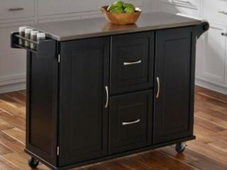 Homestyle Kitchen Cart Black Cabinets w  Stainless Steel Top