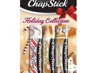 Chapstick Holiday Collection lip Balm   Candy Cane  Pumpkin Pie   Sugar Cookie   3pk