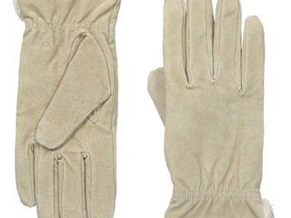 Isotoner Women s Microluxe Pigsplit Glove with Gathered Wrist  Camel  Medium
