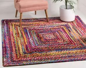 nulOOM Tammara Hand Braided Square Rug 8  Square Multicolor