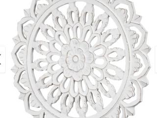 American Art Decor Floral Mandala Wall Medallion   White  24    24x24