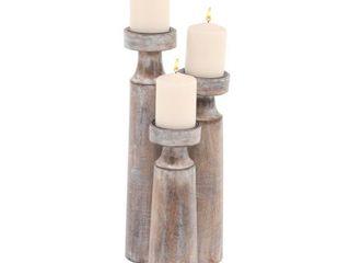 The Gray Barn Jartop Set of 3 Rustic Mango Wood Cylindrical Whitewashed Candle Holders