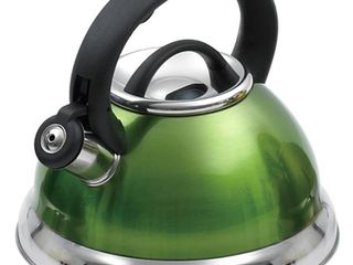 Creative Home Alexa 3 quart Whistling Stainless Steel Metallic Chartreuse Tea Kettle