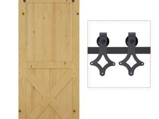 HomCom Rustic 6  Interior Sliding Barn Door Kit Hardware Set   Black Carbon Steel Star  Retail 96 49