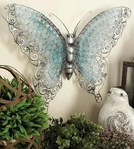 Copper Grove Iris Blue Metal Butterfly