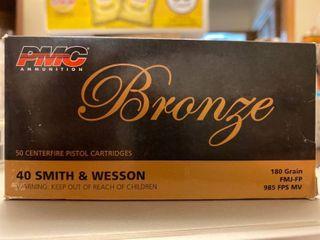 PMC Bronze Handgun Ammo   Full Metal jacket Flat Point    40 S W   50 Rounds