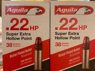 Aguila  22 lR Super extra hollowpoint38 grain premium rounds 100 Rounds   lot
