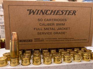 9mm Winchester 115 gr Service grade Ammo box of 50