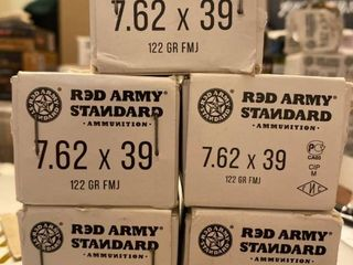 7 62x39 122gr FMJ  20 Rounds X 5  Red Army  TUlA  Great for that AK47   SKS
