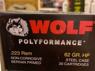 20 rounds Wolf  223 Rem  62 Grain HP