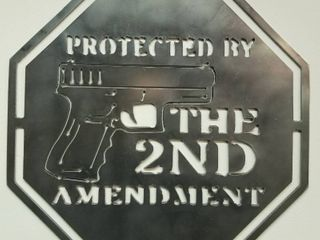 11 5 X 11 5 Heavy Steel Sign  Protected by the 2nd Amendment