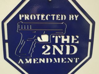 11 5 X 11 5 Heavy Steel Sign  Protected by the 2nd Amendment  Powder Coated Blue