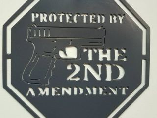 11 5 X 11 5 Heavy Steel Sign  Protected by the 2nd Amendment  Grey Powder Coated