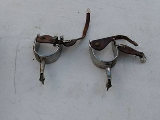 unmarked ornate Spurs with leather