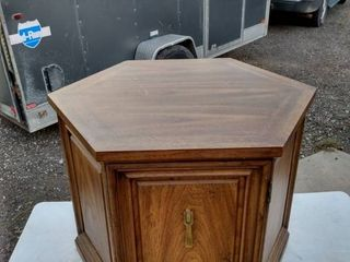 six sided end table one door 24 in across 22 in tall
