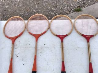 4 vintage badminton rackets