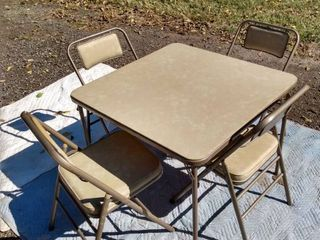 Samsonite folding card table and 4 folding chairs