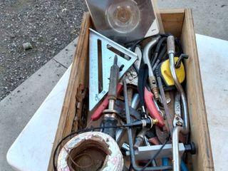 wood box of mixed tools