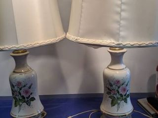 pair of lamp with roses on front work need new shades