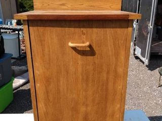 wood trash container with flip out front and storage on the bottom 19 and 1 2 in wide 14 in deep 35 in tall