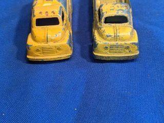 two vintage Tootsie toy trucks
