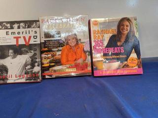 three cookbooks emeril dinners Paula Deen celebration and Rachael Ray 365 no repeats