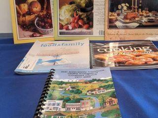 four cookbooks magazines and two cookbooks