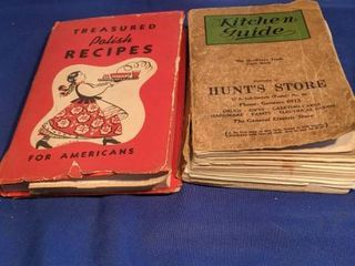 two cookbooks treasure polish recipes for Americans copyright 1948 by Polanie club publishing company kitchen guide cookbook distributed by retail hardware trade of American Civca 1940s