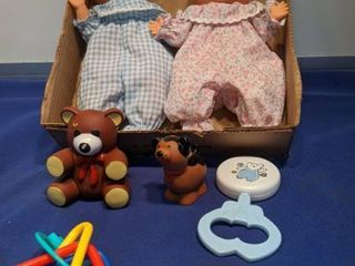 twin baby dolls with toys