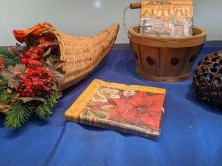 basket Autumn book pumpkin centerpiece napkins