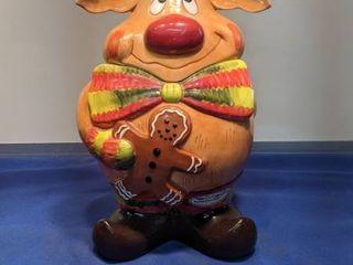 hand painted reindeer cookie jar