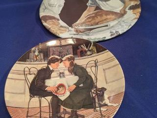 two Norman Rockwell s plates one tin