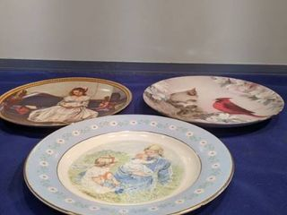 three plates girl set on couch bird s mother and child and field