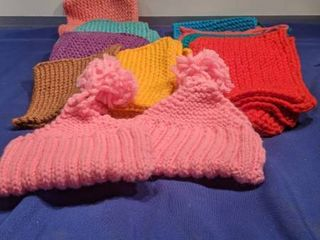 homemade pot holders and hats