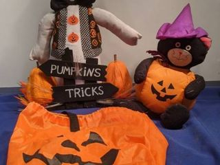 ghost black cat and pumpkin bag for trick or treating