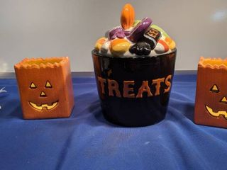 treat jar and two pumpkinl holders
