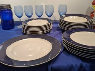 29 Gibson blue dish set microwave dishwasher and oven safe