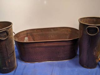 two 12 in french bucket and a oval tub