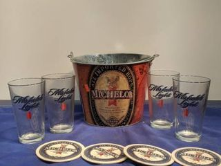 Michelob kit bucket four glasses four coasters new inbox box been open