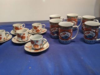 5 cup and saucers and 6 cups